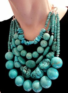 Genuine turquoise gemstones in the coolest statement necklace EVER!