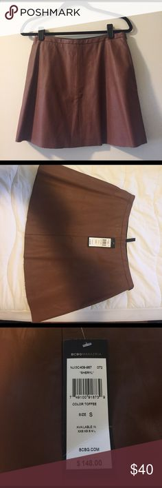 Faux Leather Mini Skater Skirt Toffee color BCBG Sheryl faux leather mini skater skirt. Side zipper. Never worn with tags. BCBGMaxAzria Skirts Mini