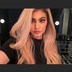 44.24$  Watch here - http://alixgs.worldwells.pw/go.php?t=32730570474 - Fashion Ombre Pink Wig Kylie Jenner lace front synthetic wigs Glueless Wavy black root/pink Heat Resistant Hair Women Wigs 44.24$