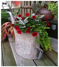 watering can, red petunias, creeping jenny to trail over, and silvery dusty miller.oh ya, baby. Container Flowers, Container Plants, Container Gardening, Indoor Gardening Supplies, Gardening Tips, Organic Gardening, Balcony Gardening, Gardening Courses, Gardening Vegetables