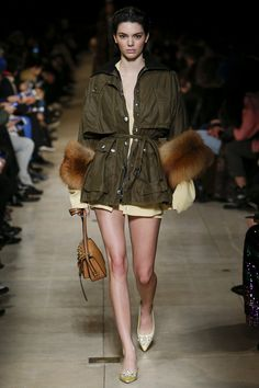 Olive green with contrasting colors - Miu Miu Fall 2016 Ready-to-Wear Collection Photos - Vogue