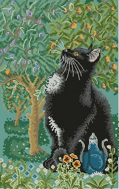 Животные. Котик и дерево (мирра) Myrrh - Животные - Схемы вышивки - Иголка