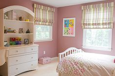 Pink wall I can tolerate. Teen Girl's Bedroom - contemporary - Kids - New York - Nanette Baker of Interiors by Nanette, LLC Pink Bedroom Design, Pink Bedroom For Girls, Kids Bedroom Designs, Teen Girl Bedrooms, Big Girl Rooms, Nursery Design, Bedroom Ideas, Contemporary Window Treatments, String Lights In The Bedroom