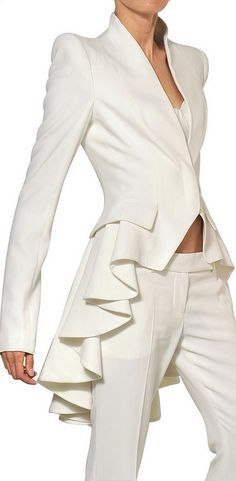Alexander McQueen White Ruffled Leaf Viscose Crepe Coat