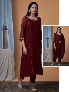 Maroon Hand Embroidered Chanderi Suit - Set of 3 Cute Girl Dresses, Party Wear Dresses, Stylish Dresses, Simple Dresses, Fashion Dresses, Stylish Suit, Suit Fashion, Pakistani Fashion Casual, Pakistani Dress Design