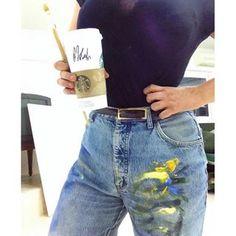 Coffee&painting=life ☕️#paint#painter#studio#atelier#brush#brushstrokes#jeans#coffee#love#starbucks#art#artwork#working