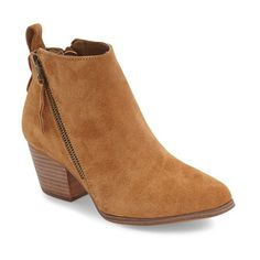 Women's Sole Society Mira Bootie (5.935 RUB) ❤ liked on Polyvore featuring shoes, boots, ankle booties, cognac suede, suede booties, cognac boots, short suede boots, suede ankle boots and cognac booties