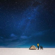 @thebikeramble looking up at the stars in Salar De Uyuni Bolivia. Fredrika is cycling around the world and raising funds for ActionAid on her epic journey - shes just passed the 500 000 SEK mark! Follow or find out more about Fredrikas journey  @thebikeramble.  Photo made with the X-T1 and XF 18-135mm F3.5-5.6.  #Fujifilm #XT1 #Fujinon #XF18135 #cycling #journeys #adventure #landscape #thebikeramble via Fujifilm on Instagram - #photographer #photography #photo #instapic #instagram…