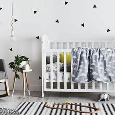 Beautiful monochrome nursery with little pops of colour | via Adairs on Instagram