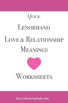 Free Lenormand Love Card Meanings Practice Readings Workbook