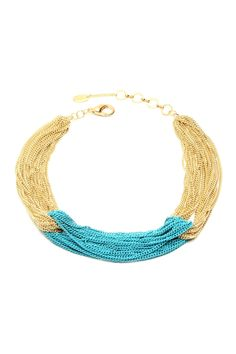 Gold and Turquoise Multi-Chain Necklace