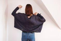 Linen kimono top linen blouse linen clothing linen by CollectionWN