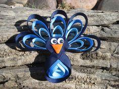 Peacock Hair Bow  Ribbon Sculpture   Blue Hair by OhSoPrettyByAsia, $4.95