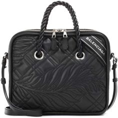 Balenciaga Blanket Square S Leather Tote ($2,450) ❤ liked on Polyvore featuring bags, handbags, tote bags, black, genuine leather tote bag, balenciaga tote bag, square tote, leather purses and leather tote bags