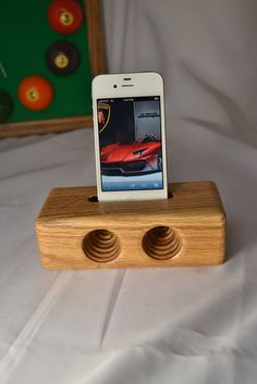 iPhone Acoustic Speaker  iPhone Woodne Dock  by MasterWorks888, $25.50