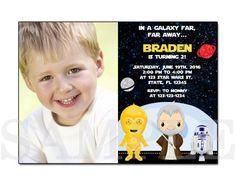 PB0008 STAR WARS PRINTABLE BIRTHDAY PARTY INVITATION CARDS the Star Wars The force awakens photo invitation B