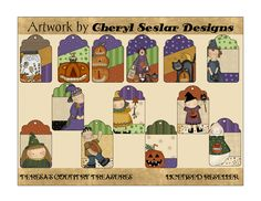 Halloween Tags printable from Cheryl Seslar Designs includes country, primitive tags with pumpkins, witches, monsters,ghosts, cats, and girls