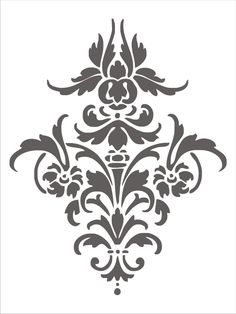 Stencil Damask Design 4.1, flourish scroll wall stencil, image is approx. 14 x…