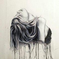 anxiety and depression art Depression Artwork, Sad Drawings, Dark Art Drawings, Art Drawings Beautiful, Detailed Drawings, Deep Art, Ink Art, Dark Art, Portraits