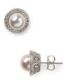 Nadri Framed Pearl Stud Earrings, 8mm | Bloomingdale's