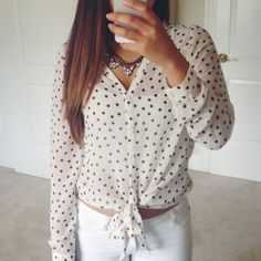 SALE Chiffon Polka Dot Top Worn once! Like new condition. Cream color with navy blue polka dots. Sheer so you'll want to wear a cami underneath! ❤️ Pearl Tops