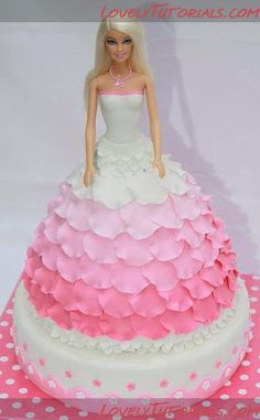 Pink and white dress caKe