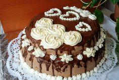 Desert tort cu crema de ciocolata neagra si alba si afine - Reteta nr. 600