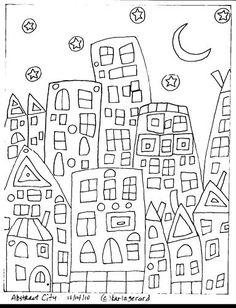Rug Hooking Paper Pattern Abstract City FolkArt Karla G   eBay