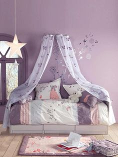 Looking for purple bedroom ideas? It's good, but a purple bedroom will be better when combined with other colors: white, blue and so on, as described here. Girls Bedroom, Big Girl Bedrooms, Purple Bedrooms, Little Girl Rooms, Bedroom Themes, Bedroom Ideas, Girls Room Purple, Lilac Bedroom, Girls Canopy