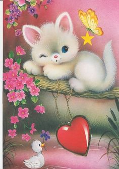NEW Diamond Embroidery full canvas painting diy diamond painting diamond pattern cat needlework square diamond painting Cute Animal Illustration, Cute Animal Drawings, Cute Drawings, Cute Cartoon Images, Cute Images, Vintage Cards, Vintage Postcards, Image Chat, Jolie Photo