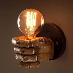 Retro 1-Light Clenched Fist Creative Indoor Wall Light & Exposed Bulb - Indoor Sconces - Wall Lights - Lighting