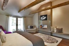 Bedroom Modern With Tv Ideas View In Gallery Keeping The Fireplace Below The Tv Simple And Contemporary Decoist Tv Above Fireplace Design Ideas Winter Bedroom, Cozy Bedroom, Bedroom Decor, Bedroom Ideas, Bedroom Fireplace, Fireplace Design, Fireplace Ideas, Open Fireplace, Fireplace Wall
