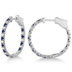 Round Diamond & Blue Sapphire Hoop Earrings 14k White Gold 1.44ct - Allurez.com