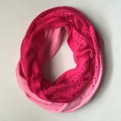 Pink Infinity Scarf! Pink ombre infinity Scarf! So much fun with pink and hot pink colors! Great condition! 15 inches wide 64 inches around! Boutique Accessories Scarves & Wraps
