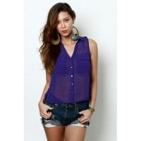 LoveMelrose.com From Harry & Molly | Sheer Button blouse royal purple from Love Melrose - SLEEVELESS - TOPS