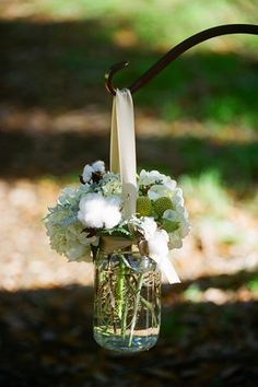 mason jar hanging with ribbon