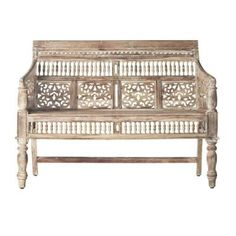 Home Decorators Collection Maharaja Hand-Carved Settee in Sunblasted White-0652000980 - The Home Depot