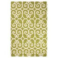 Geometric Green & Ivory Rug