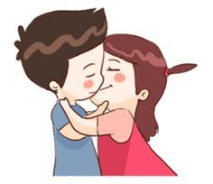 The Love Story of Cute Couple Love Cartoon Couple, Cute Love Cartoons, December Calligraphy, Gif, Kenny Chesney, Line Store, Line Sticker, Loving U, Scarlett Johansson