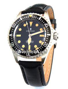 Black Leather Watchstrap For Steinhart Ocean Vintage Military