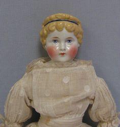 "21.5"" Antique CHINA-HEAD Doll c1870 ABG High Cobalt HEADBAND wraps CURLY HAIR $1,850.00"