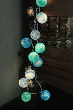 3 meter 20 cotton ball light lantern sky blue ocean surf color beach home decoration teen bedroom night light party decor