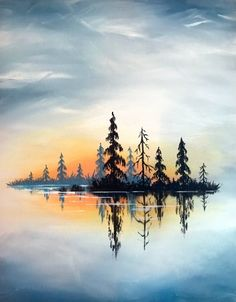 restaurant night Join us for a Paint Nite event Tue Jan 2019 at 4030 Main St Hilliard, OH. Purchase your tickets online to reserve a fun night out! Landscape Drawings, Art Drawings, Drawing Sunset, Afrique Art, Drawn Art, Guache, Pictures To Paint, Painting & Drawing, Lake Painting