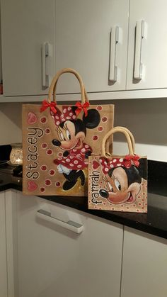 Large and small personalised  Disney mini mouse jute bags by drews jutes