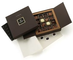 A beautifully presented chocolate gift box containing superior quality milk, dark and white assorted chocolates of 8 types. and other luxury chocolate gift boxes online for UK gift delivery. Chocolate Box Packaging, Chocolate Gift Boxes, Chocolate Sweets, Best Chocolate, How To Make Chocolate, Chocolate Truffles, Chocolate Wrapping, Chocolate Making, Luxury Chocolate