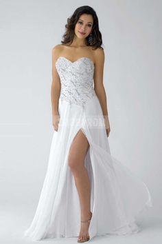 Crystals Zipper Split Sweetheart A-line Chiffon Sleeveless Court Train Natural Waist Prom Dress