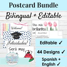 EDITABLE Bilingual Postcard Bundle | Spanish and English | TpT
