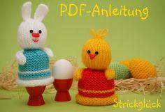 Free crochet pattern easter cosy chicken hare bunny german  https://www.crazypatterns.net/de/store/strickglueck