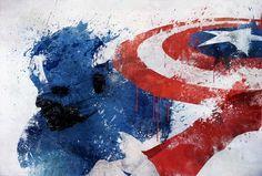 Captain America splatter art.