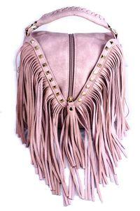 Fringe Accented Cute Satchel Bag With Shoulder Strap